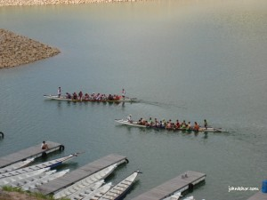 Dragon boat teams training @ Teluk Bahang Dam Penang