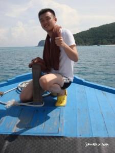 Posing at Laguna Redang boat