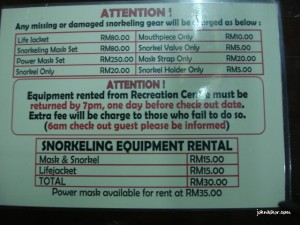 Rental rates of snorkeling equipments
