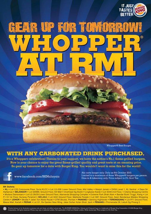 Burger King Whooper Burgers @ RM1 @ Promenade 28, Jelutong, Penang