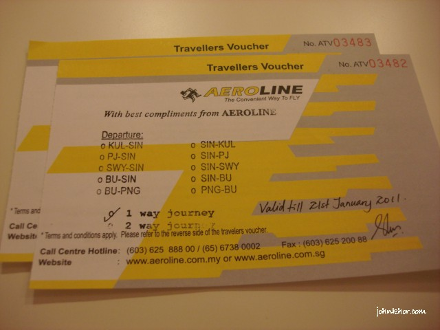 Aeroline Singapore-KL Complimentary Tickets