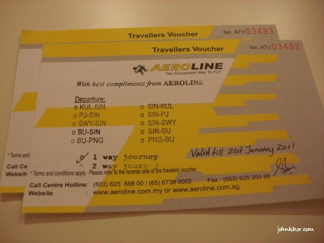 Aeroline Singapore-KL Complimentary Tickets