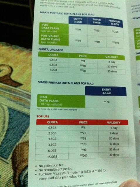 Maxis data plans for iPad
