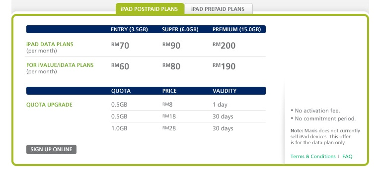 Maxis Postpaid Data Plans for iPad