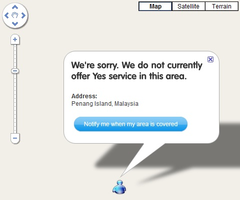 Penang No Coverage by YES 4G