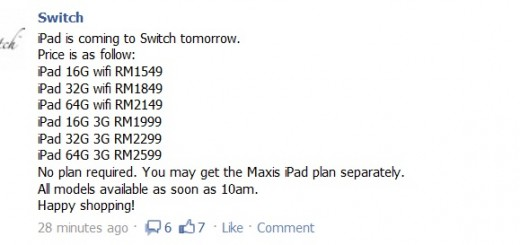 Switch - iPad prices
