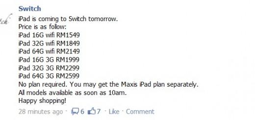 Switch - iPad prices