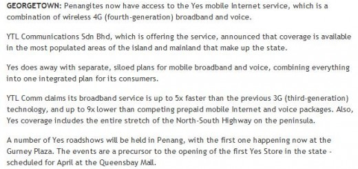 YES in Penang @ Tech Central, theStar