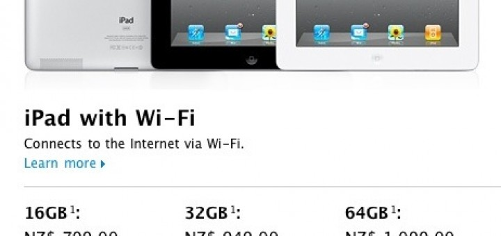 iPad 2 price in New Zealand