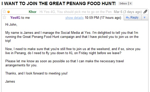 YES 4G the Great Penang Food Hunt Invite Email