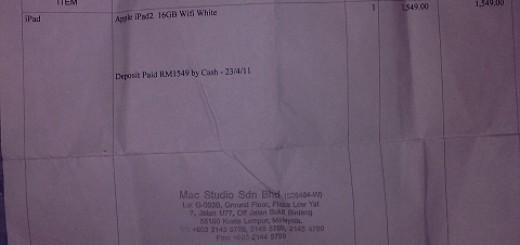 iPad 2 booking receipt Mac Studio Malaysia