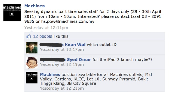 Machines, Apple reseller Facebook fanpage