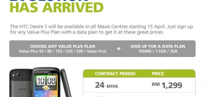Maxis HTC Desire S Contract Price