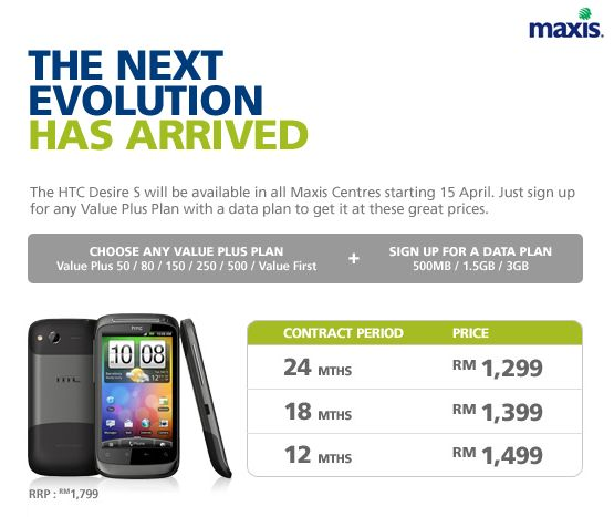 Maxis HTC Desire S Contract Price