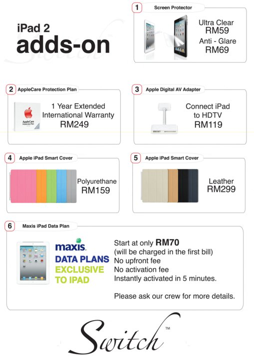 Switch iPad 2 add ons price list