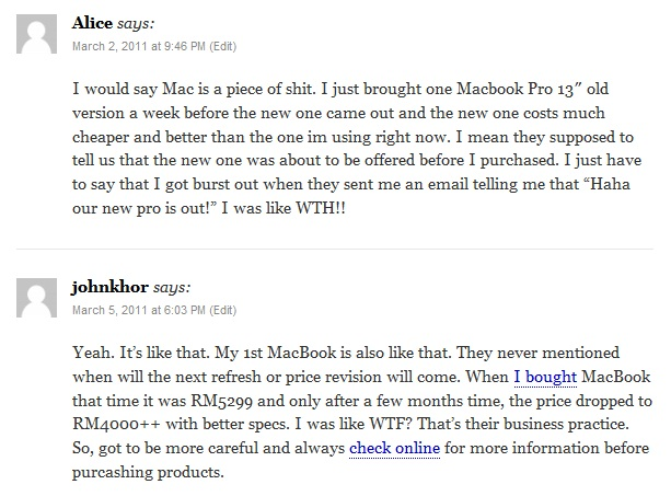 Apple resellers comments