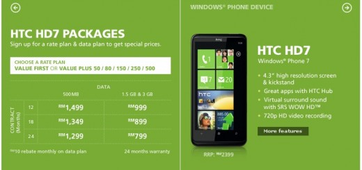 Maxis HTC HD7 Packages