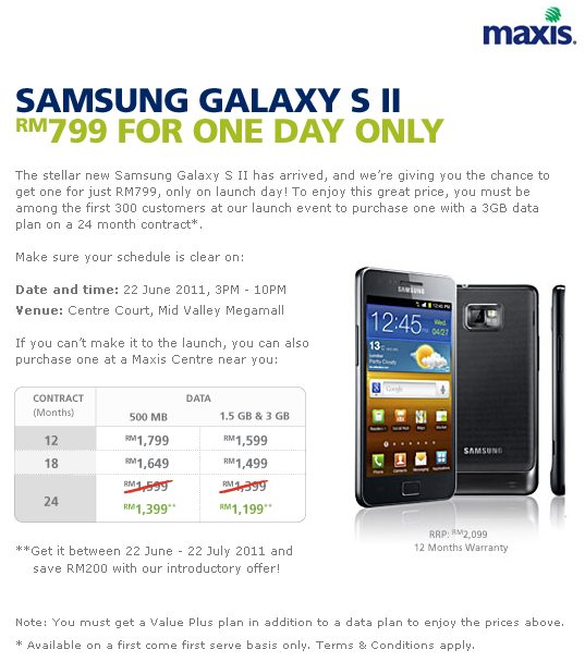 Maxis Samsung Galaxy S II Data Plan