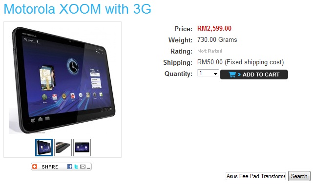Motorola Xoom 3G out in Malaysia