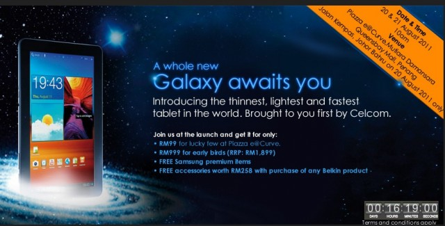 Celcom Samsung Galaxy Tab 10.1-inch launch date & pricing