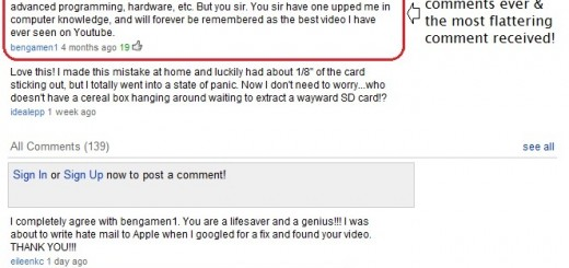 Best YouTube Comment Ever for solving the SD Card stuck in iMac CD Slot
