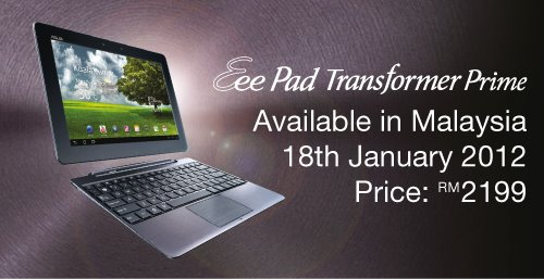 Asus Transformer Prime Malaysia Price Availability
