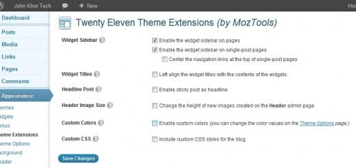 Twenty Eleven Sidebar Theme Extensions 1