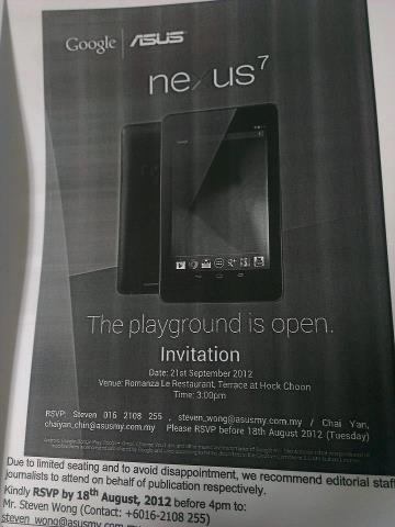 Google Nexus 7 Launch In Malaysia Invite
