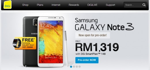 DiGi Galaxy Note 3 Pre Order Starts With Free Galaxy Gear