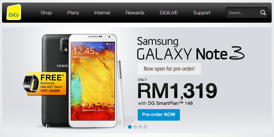 DiGi Galaxy Note 3 Pre Order Starts With Free Galaxy Gear